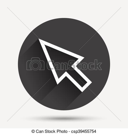 450x470 Mouse Cursor Sign Icon. Pointer Symbol. Circle Flat Button With