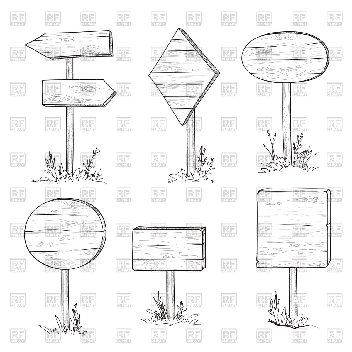 1200x1200 Set Of Wooden Road Sign And Arrows, Planks. Pointer And Signboard