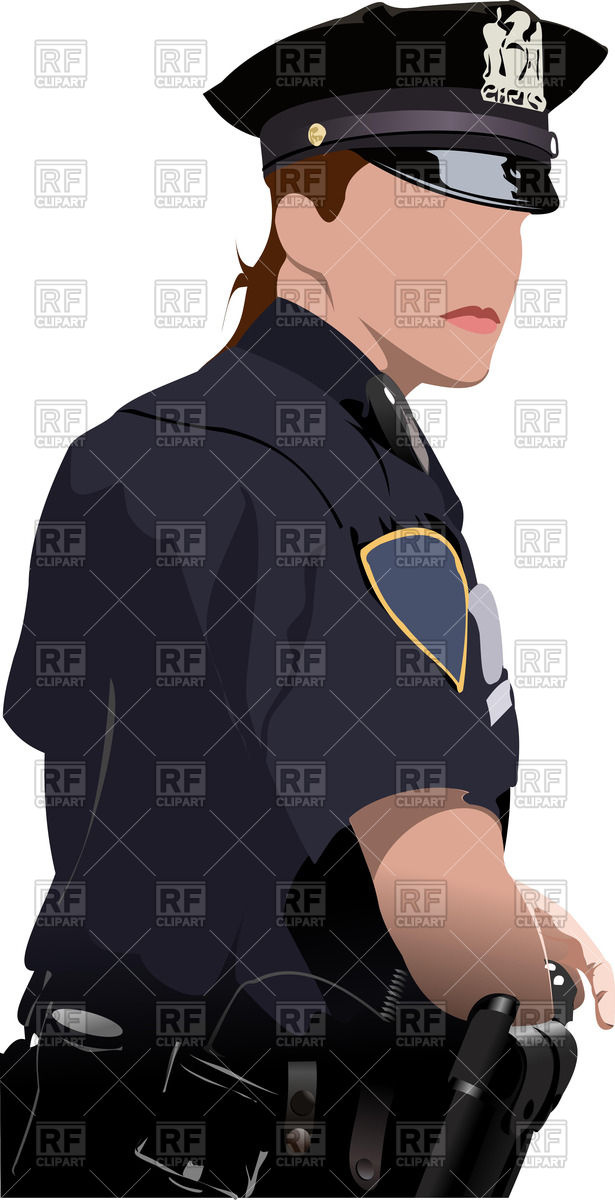 615x1200 Police Woman Turns Her Head Back Vector Image Vector Artwork Of