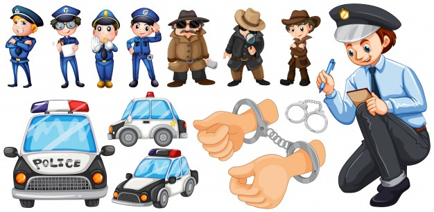 626x306 Police Officers And Police Car Set Illustration Vector Free Download