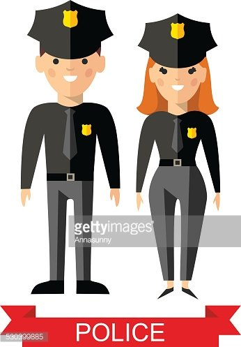 346x497 Set Of Vector Police Peoples, Policeman And Police Woman Stock