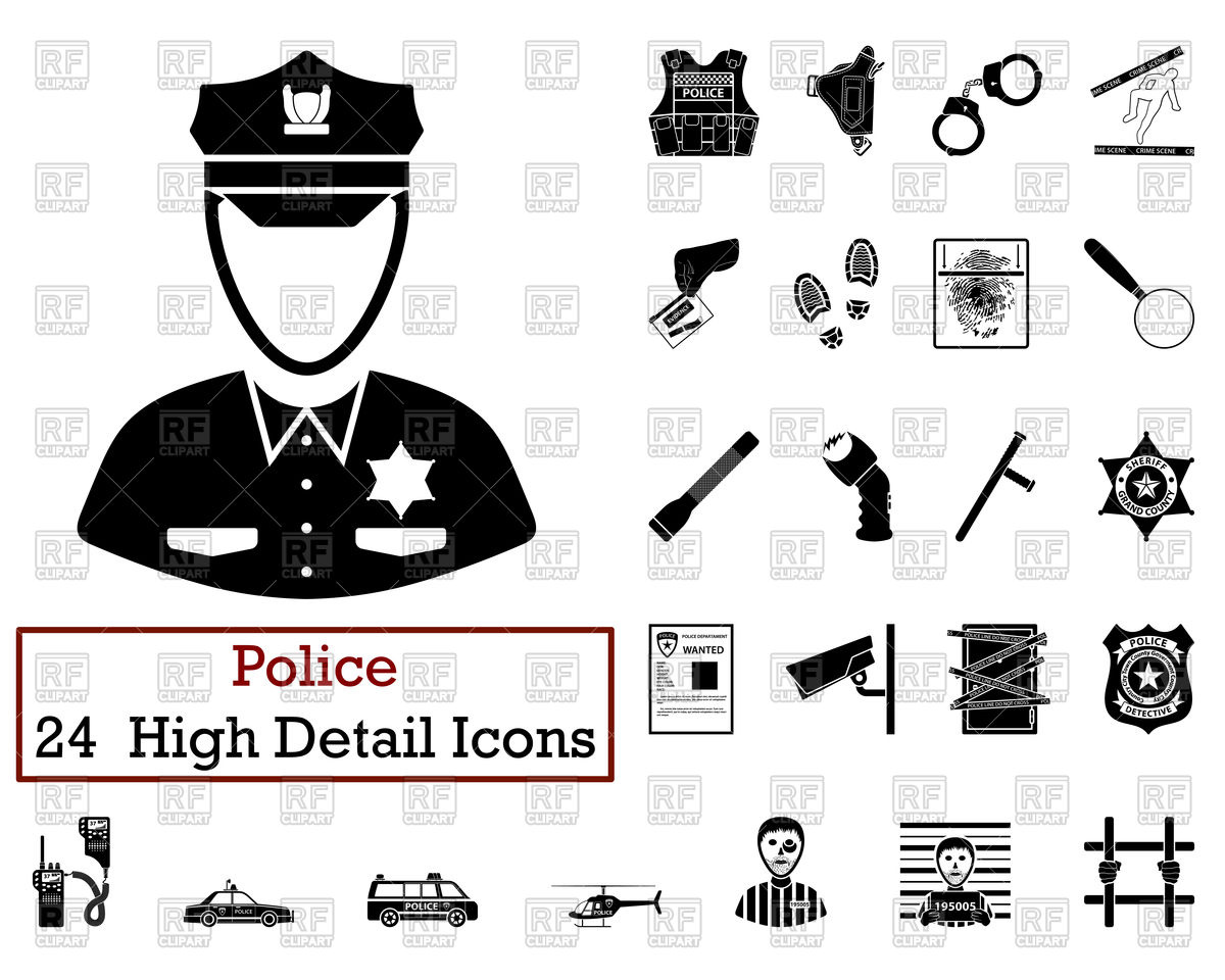 1200x960 Set Of Police Icons Vector Image Vector Artwork Of Signs