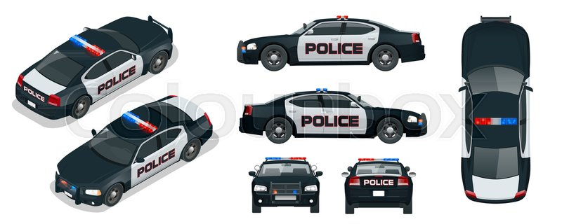 800x320 Vector Police Car With Rooftop Flashing Lights, A Siren And