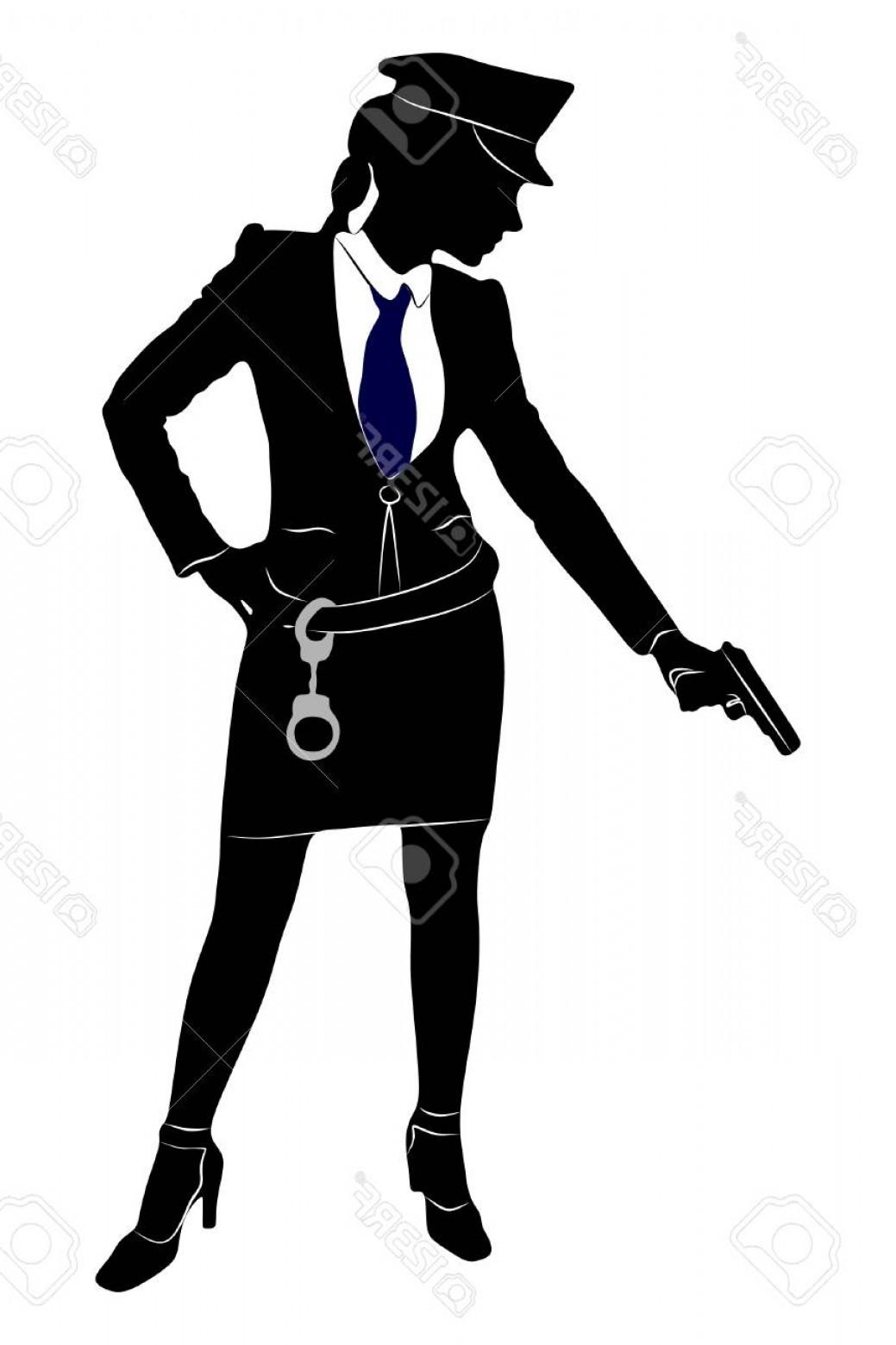 1039x1560 Photostock Vector Police Woman Aiming Gun Shopatcloth