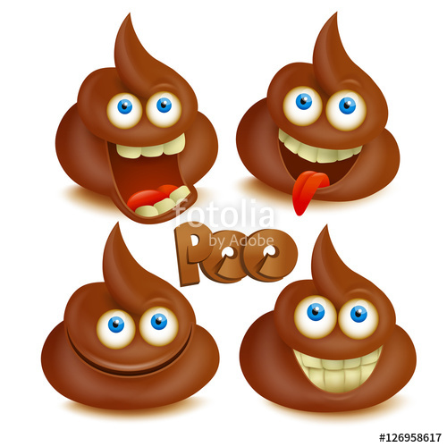 500x500 Set Of Vector Poop Emoji Icons. Isolated Over White Stock Image