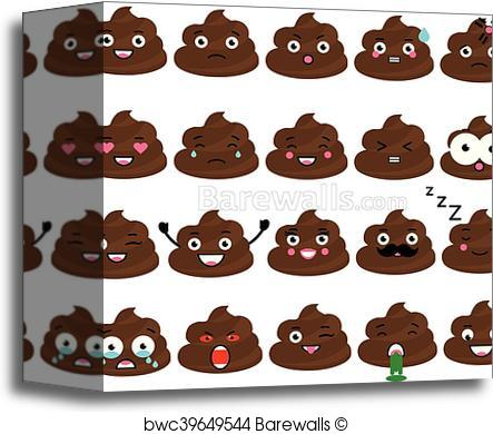 443x390 Canvas Print Of Cute Vector Poop Emoji Set. Turd Emoticons, Design
