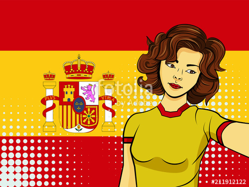 500x375 Asian Woman Taking Selfie Photo In Front Of National Flag Spain In