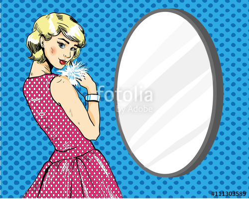 500x400 Beautiful Woman In Front Of Mirror. Vector Illustration In Comics