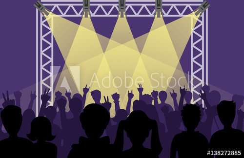 500x324 Concert Pop Group Artists On Scene Music Stage Night And Young
