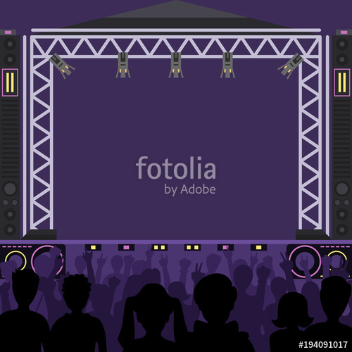 500x500 Concert Stage Scene Vector Music Stage And Night Concert Party