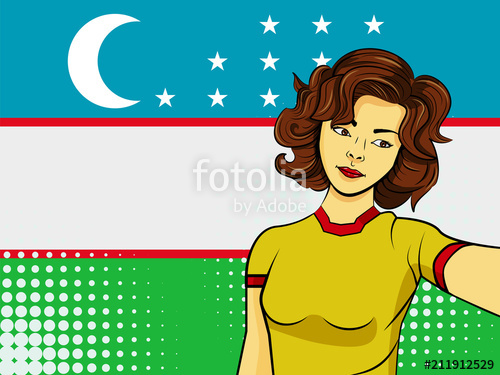 500x375 Asian Woman Taking Selfie Photo In Front Of National Flag