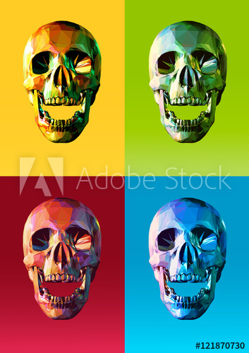 353x500 Low Poly Skull Front With Colorful Pop Art Style