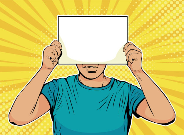 626x459 Pop Art Businessman With Blank Paper In Front Of Face Vector
