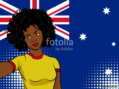 500x375 African American Girl Makes Selfie In Front Of National Flag