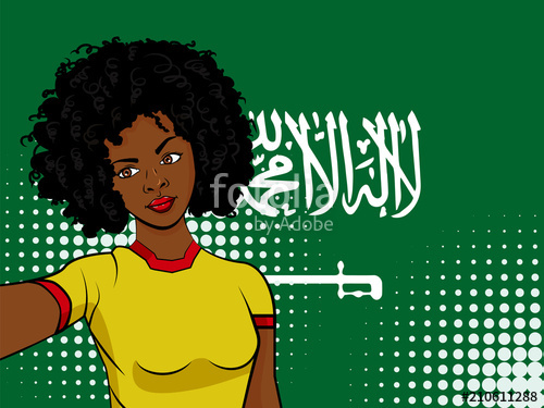 500x375 African American Girl Makes Selfie In Front Of National Flag Saudi