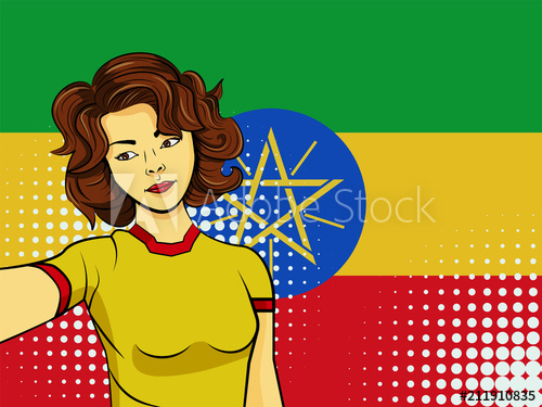 500x375 Asian Woman Taking Selfie Photo In Front Of National Flag Ethiopia