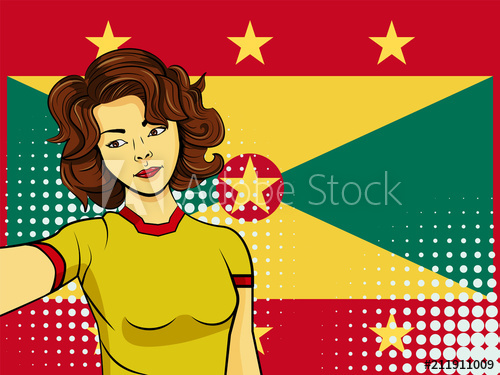 500x375 Asian Woman Taking Selfie Photo In Front Of National Flag Grenada