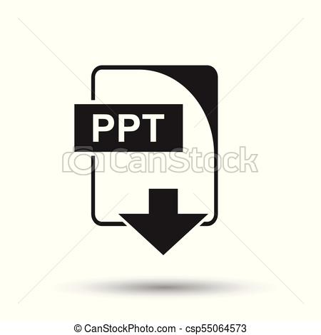 450x470 Ppt Icon. Flat Vector Illustration. Ppt Download Sign Symbol With
