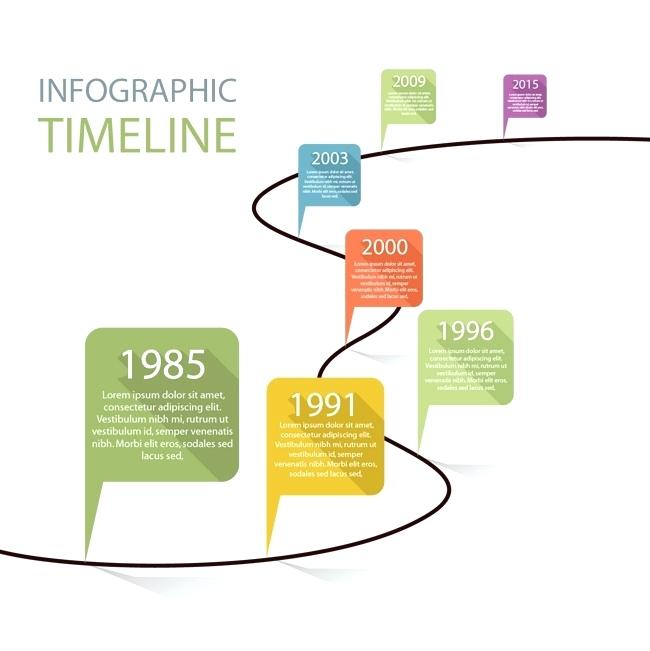 650x651 Timeline Template Download Flat Time And Vector Infographic Ppt