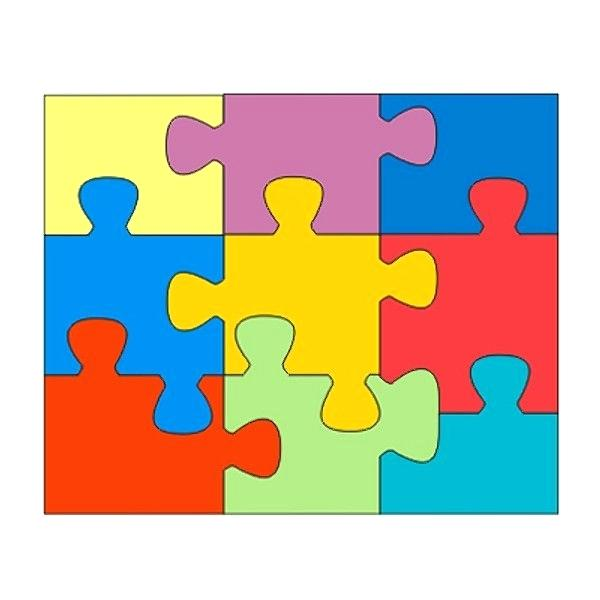 600x600 Puzzle Template Four Piece Jigsaw 6 Vector Clntfrd.co