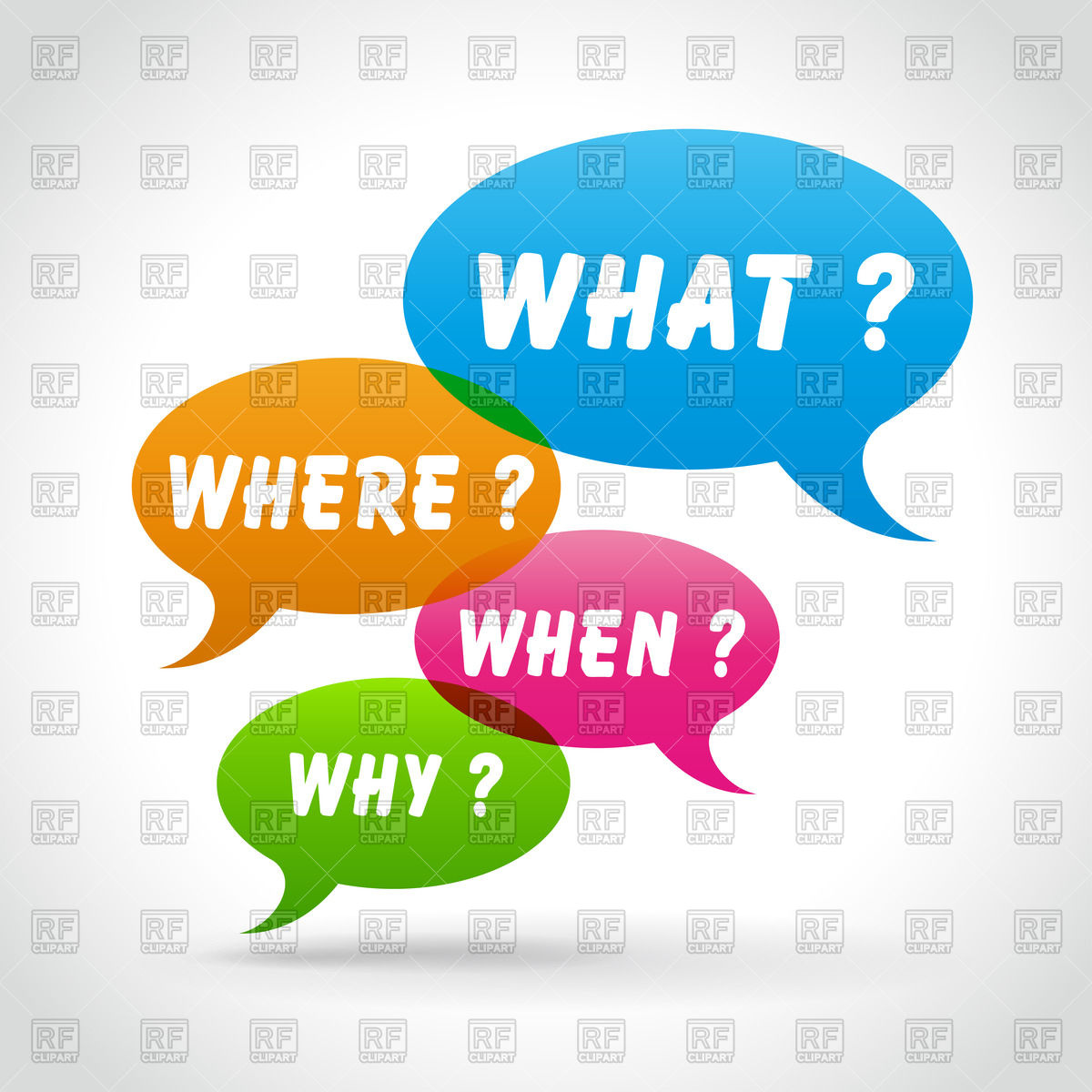 1200x1200 Speech Bubbles With Common Questions Vector Image Vector Artwork