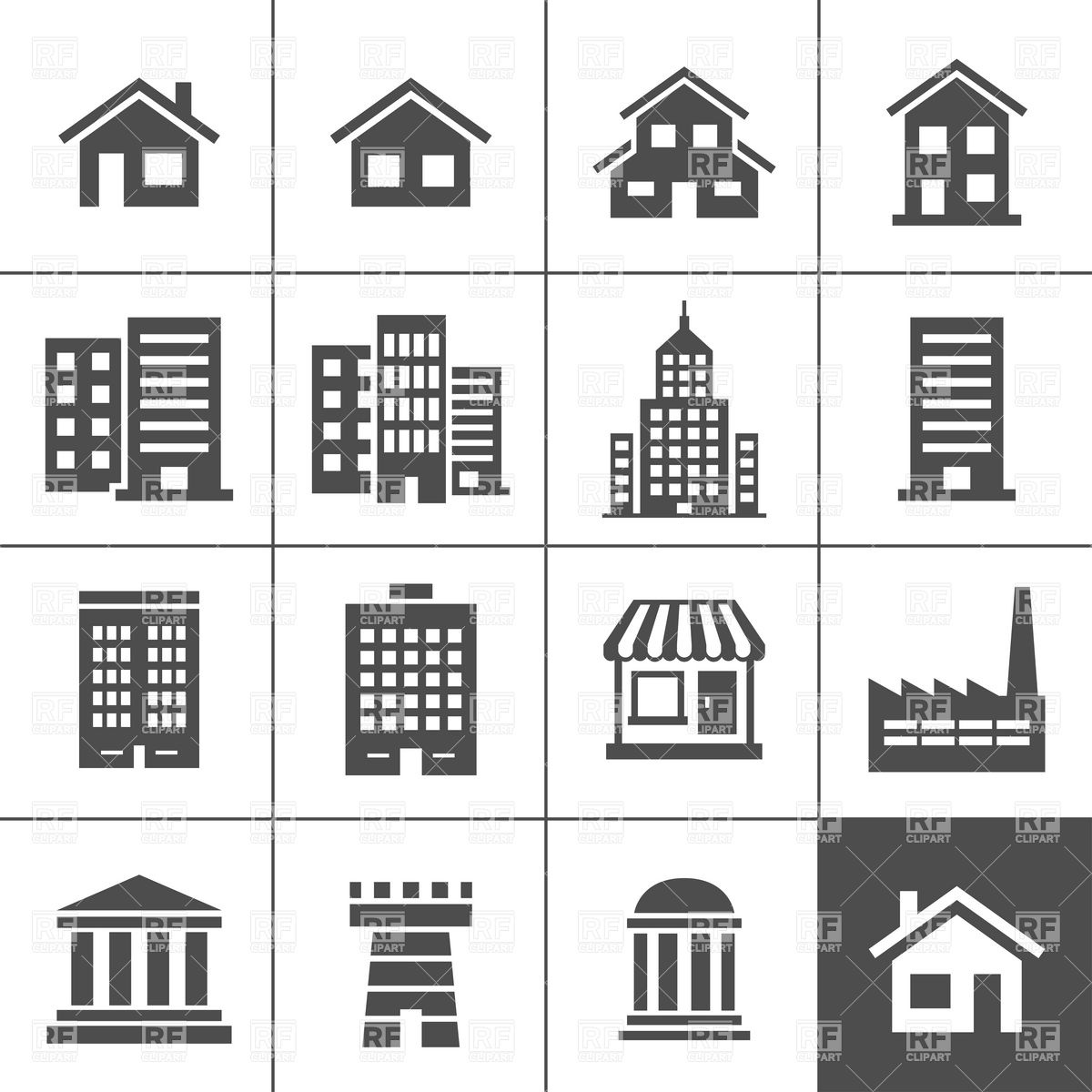 1200x1200 Buildings, Realty And Real Estate Icons Set Vector Image Vector