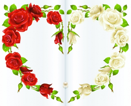 425x345 Red Rose And White Rose Heart Background Vector Free Vectors
