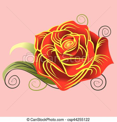 450x470 Rose In Vector. Red Rose. Vector Illustration.