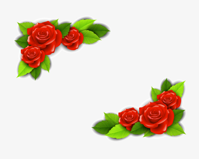 650x519 Vector Red Rose Border, Vector Rose, Red Rose, Rose Border Png And