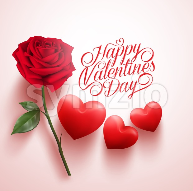 620x614 Vector Red Rose And Hearts With Happy Valentines Vector