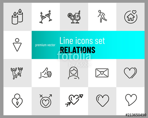 500x400 Relations Icons. Set Of Line Icons. Dancing, Heart, Toast. Love