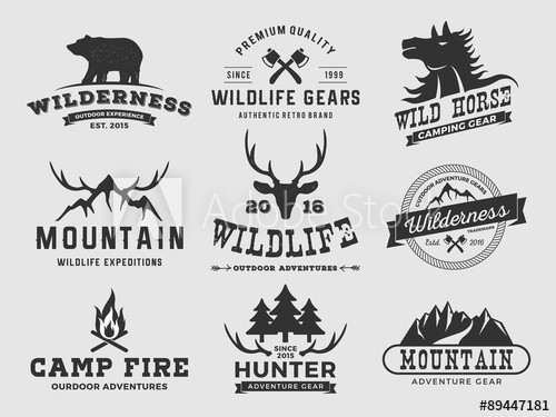 500x375 Set Of Outdoor Wilderness Adventure And Mountain Badge Logo