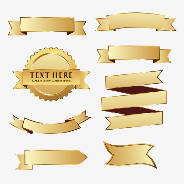 640x640 Gold Ribbon Pack 1, Gold Vector, Frame Vector, Ribbon Png And