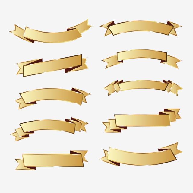 640x640 Gold Ribbon Pack 3, Gold Vector, Frame Vector, Ribbon Png And