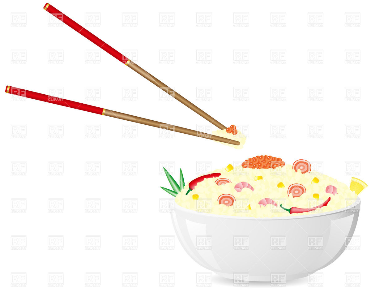 1200x960 Asian Plate Of Rice With Seafood And Chopsticks Vector Image