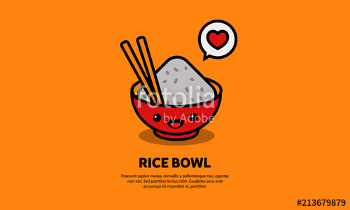 500x300 Rice Bowl With Happy Smiling Face Vector Illustration Stock Image