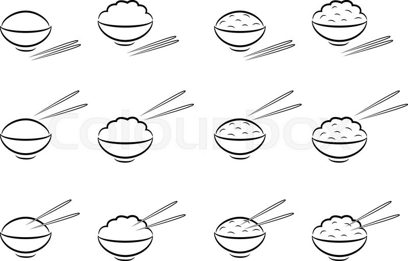 800x513 Rice Bowl Symbol With Chopsticks In Line Art Style Stock Vector