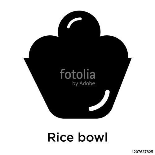 500x500 Rice Bowl Icon Vector Sign And Symbol Isolated On White Background