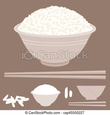 450x470 Rice Vector In Bowl With Chopsticks.