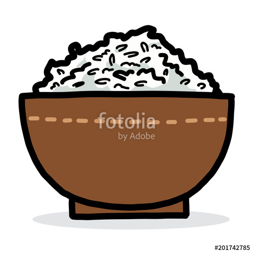 500x500 Brown Rice Bowl Cartoon Vector And Illustration, Hand Drawn