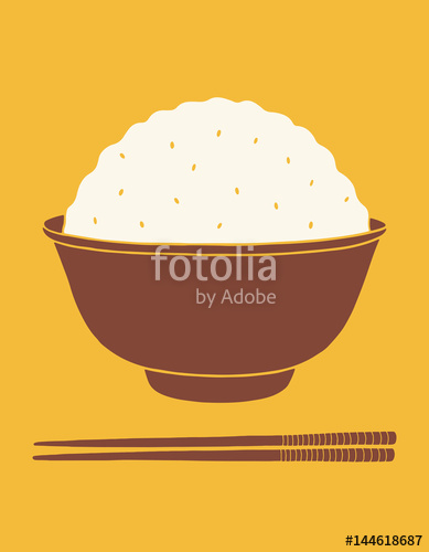 389x500 Flat Hand Drawn Vector Illustration Of Rice Bowl And Chopsticks