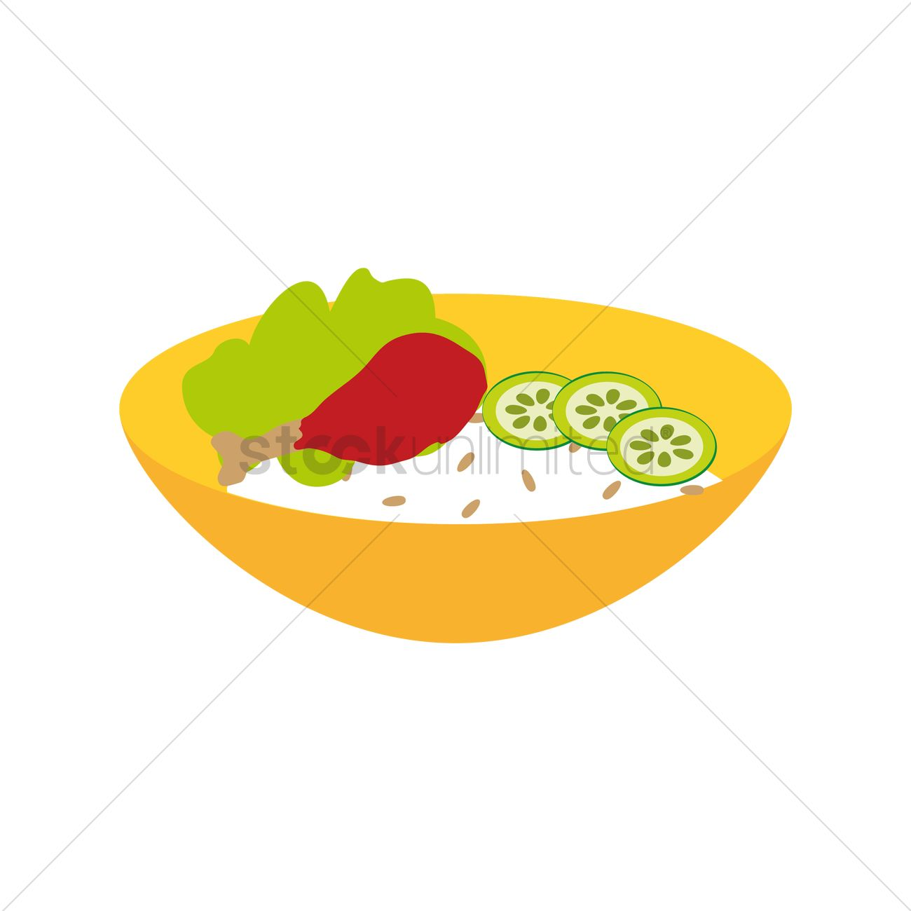 1300x1300 Free Rice Bowl With Chicken And Salad Vector Image