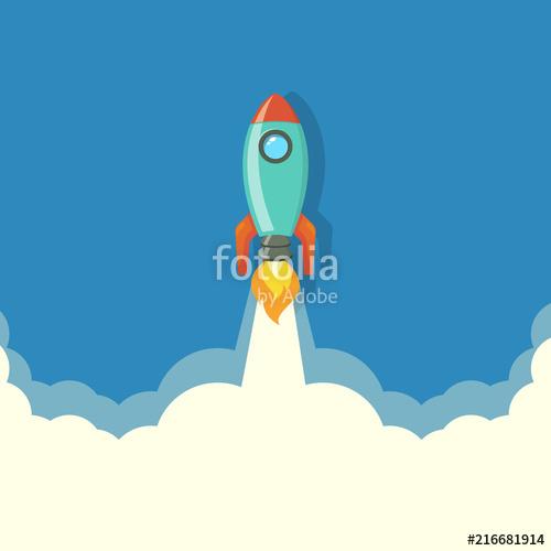500x500 Rocket Launch.rocket Ship.rocket Vector, Illustration Concept Of