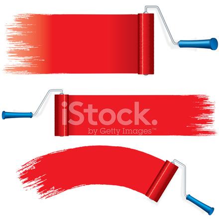 440x440 Rolo Vermelho Pinceladas Pintura Na Vector Stock Vector