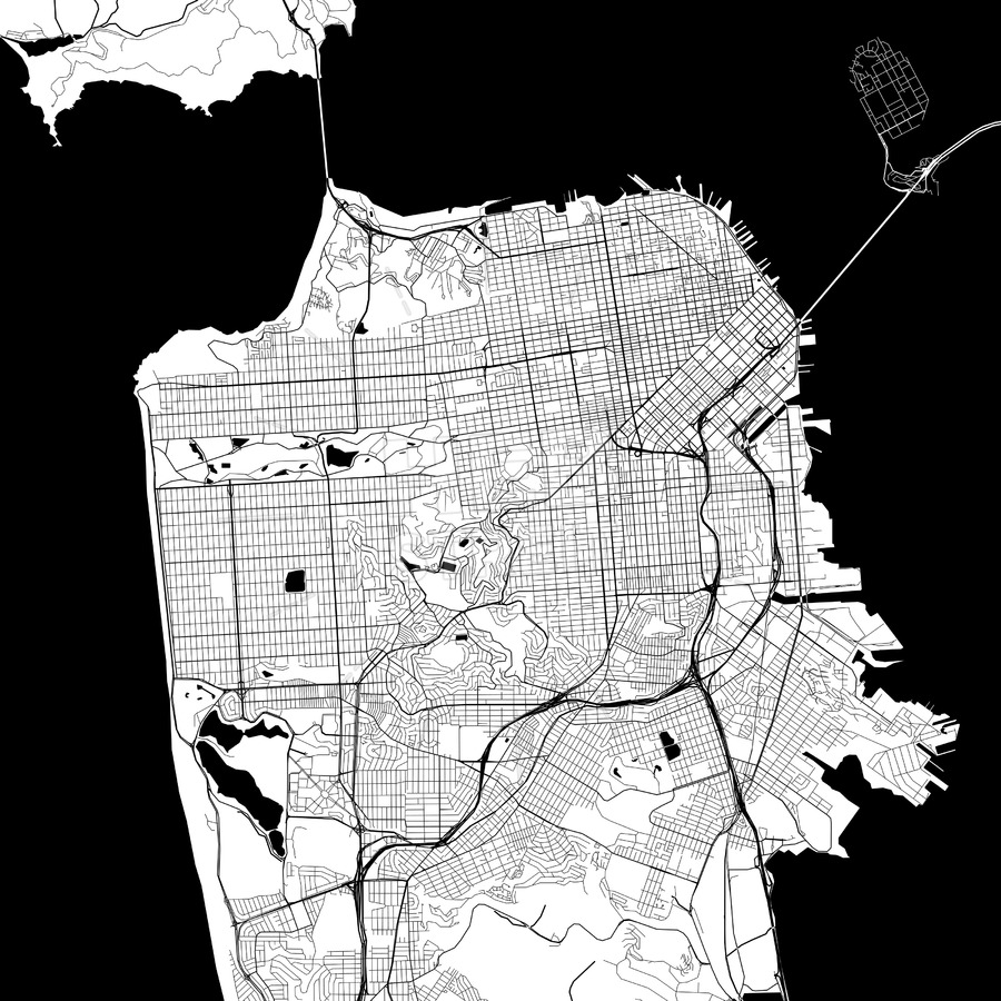 900x900 San Francisco Monochrome Vector Map Hebstreits