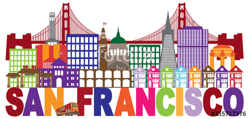 500x240 San Francisco Skyline And Text Colorful Vector Illustration Stock