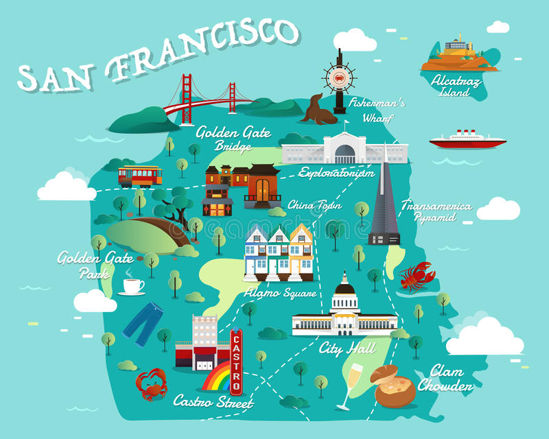 800x640 San Francisco Tourist Map Carte De San Francisco Attractions