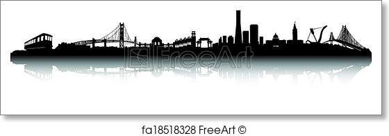 560x197 Free Art Print Of San Francisco Skyline Vector . San Francisco
