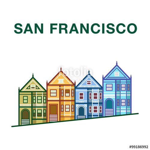 500x500 San Francisco Victorian Houses. San Francisco Vector Landmark