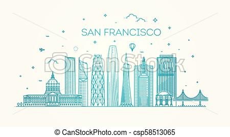 450x268 San Francisco City Skyline Vector Background. Linear Banner Of San